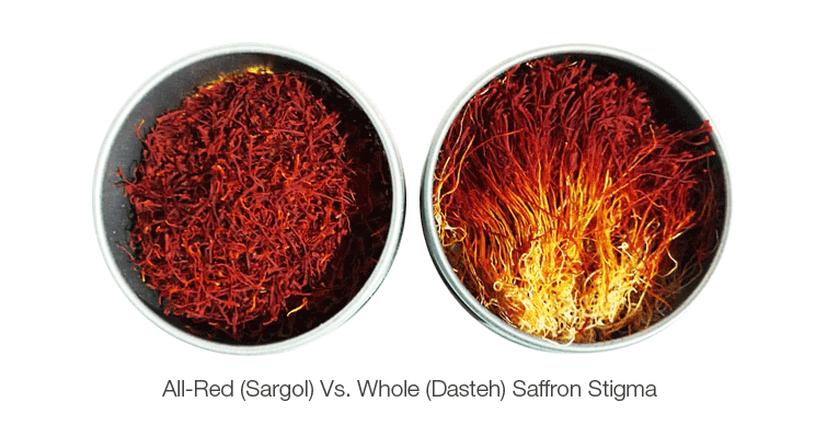 All-Red-Sargol-Vs-Whole-Dasteh-Saffron-Stigma- Keshmoon -TAP Persia