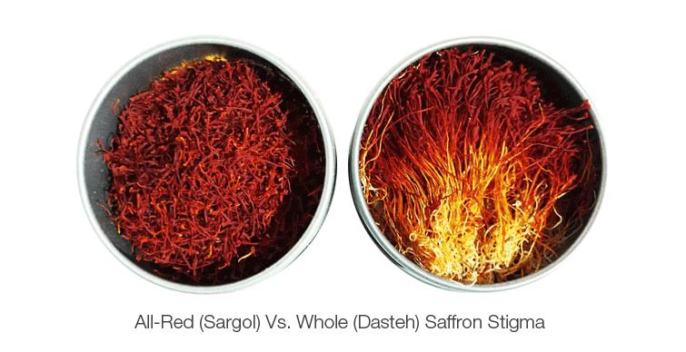 All-Red-Sargol-Vs-Whole-Dasteh-Saffron-Stigma- Keshmoon -TAP Persia