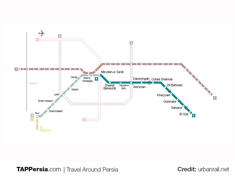 Tabriz Metro Map