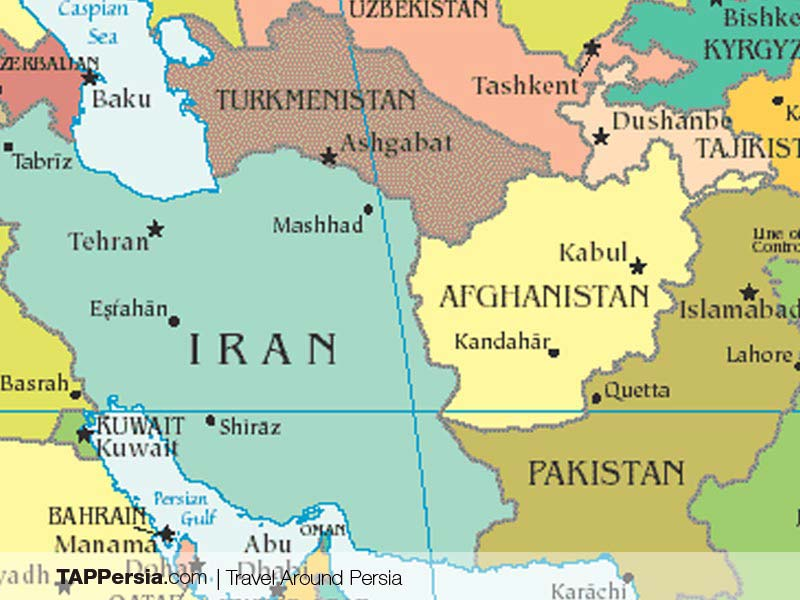 Iran on Map - Study Farsi in Iran